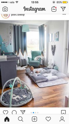 Bild könnte enthalten: table and indoor – Babyzimmer - Devil Image could contain: table and indoor - baby room - Baby Bedroom, Baby Boy Rooms, Baby Boy Nurseries, Nursery Room, Kids Bedroom, Teal Nursery, Elephant Nursery Decor, Men Bedroom, Room Baby