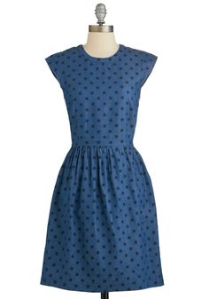 Engaging Entrance Dress. When you arrive at the picnic in this darling denim A-line, youre destined to earn a plethora of praise! #blue #modcloth