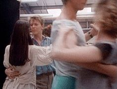 """David Bowie and Jennifer Connelly practicing their waltz for """"The Labyrinth"""""""