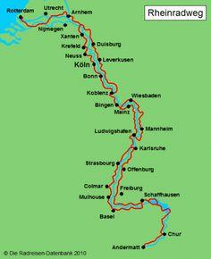 Karte von Rheinradweg