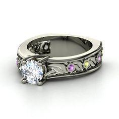 Round Diamond 14K White Gold Ring with Amethyst & Peridot - lay_down