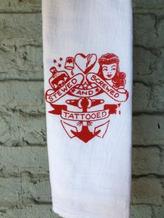 Sailor Jerry - Rockabilly - Flour Sack Tea Towel. Hand Screen Printed - Red White , Kitsch - Kitchenware - Kitchen decor - Dish Towel on Etsy, $10.00
