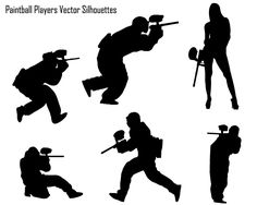 Paintball Players Silhouette Vector