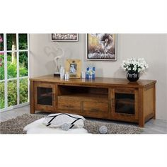 Altamura Solid Tasmanian Oak Timber 2 Door 2 Drawer 200cm TV Unit