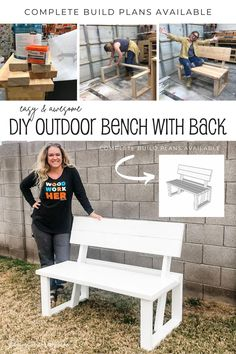 Diy Furniture Plans, Outdoor Furniture, Outdoor Decor, Outdoor Projects, Diy Projects, Bench With Back, Diy Deck, Do It Yourself Projects, Woodworking Projects Diy
