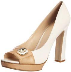 Nine West Women's Getsome Peep-Toe Pump . Classy looking Peep Toe Shoes, Pump Shoes, New York Style, My Style, Inside Shoes, White Pumps, Shoe Closet, Beautiful Shoes, Nine West