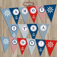 Instant  download Nautical Baby Shower Banner. Red and Blue chevron. Digital Printable