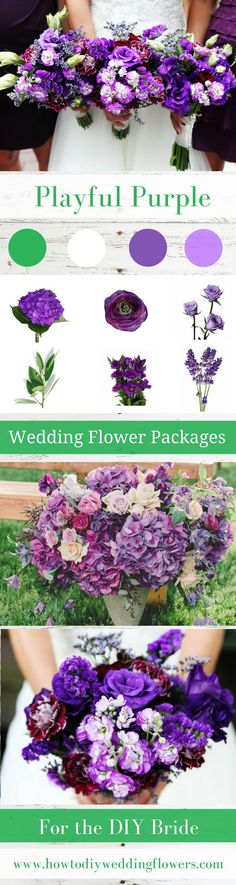 Purple Wedding Trends 2018! DIY Wedding Flower Packages! Buy Easy Complete DIY bouquet, Boutonniere & Centerpiece Flower packages online! How to make a wedding bouquet DIY wedding bouquet tutorials and instructions. #weddingflowerpackages #purpleweddingflowers #weddingtrends