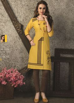 Mustard Yellow Casual Cotton Kurti