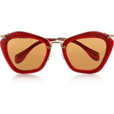 Miu Miu Cat eye glittered acetate and metal sunglasses ($340) ❤ liked on Polyvore