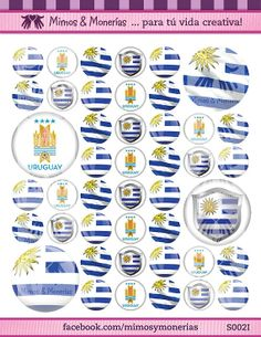 """Uruguay 2014 FIFA World Cup Flags Bottle Cap Images 1"""" Circles - 8.5"""" x 11"""" Digital Collage Sheet - Buy 1 Get 1 FREE of another Country"""