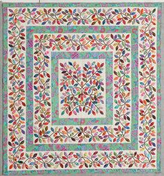 Leaves quilt by Kim McLean - I don't do applique, but I like the idea of using borders within the quilt itself.