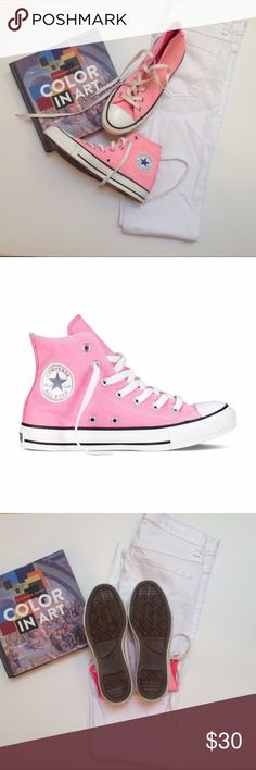 Converse High Top All Stars Totally trendy pink Converse high tops, size 5, equivalent to women's size 7. Worn once, in perfect condition. Converse Shoes