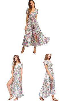 062d3b096b Milumia Women s Button up Split Floral Print Flowy Party Maxi Dress