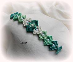 Beaded mint white seed bead cuff bracelet