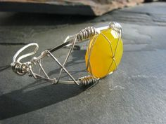 Handmade Cuff - Yellow agate and silver wire wrapped, adjustable cuff.