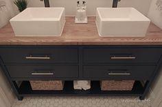 Ideas Diy Wood Countertops Bathroom Budget For 2019 Wood Countertops, Diy Bathroom, Diy Wood Countertops, Butcher Block Countertops, Wood Countertop Bathroom, Simple Bathroom, Wood Diy, Bathroom Decor, Wood Bathroom