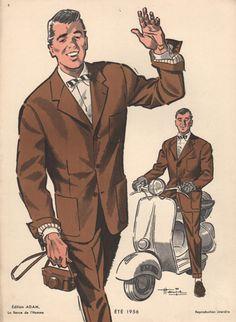 Man on Moped, Vintage Fashion Print, 1956