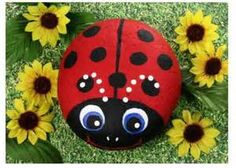 Image detail for -Hand Painted Rocks - Closeup of Carrie's Beetle Bug Trio on trunk ...