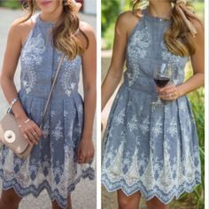 MAJOR SALE❗Designer ️Cynthia Steffe Chambray Dress Cynthia Steffe | Worn Once, in Perfect Condition | lined skirt with side zipper | beautiful floral pattern embroidery Cynthia Steffe Dresses Mini