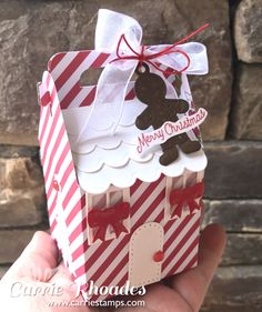 Charming cottage Candy Cane Box, Spellbinders die set meets FSJ papers and accessories. Christmas Paper Crafts, Christmas Candy, Christmas Projects, Christmas Decorations, Christmas Houses, Christmas Games, Christmas Stuff, Christmas Ideas, Xmas