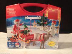 BNIB ~ CHRISTMAS PLAYMOBIL SANTA WITH SLEIGH 33 PIECE SET 5956 TAKE ALONG CASE  #PLAYMOBIL