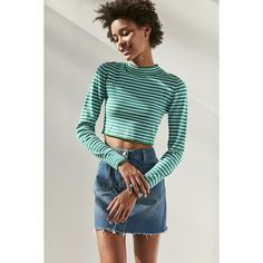 Silence + Noise Striped Cropped Turtleneck Sweater (490 ZAR) ❤ liked on Polyvore featuring tops, sweaters, long sleeve crop top, long sleeve sweater, striped crop top, turtle neck crop top and stripe sweater