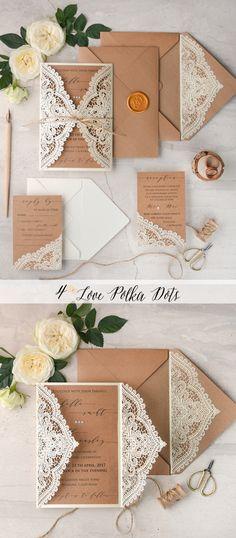 Romanric laser cut lace wedding invitations - eco brown & ecru #weddingideas #eco #ecofriendly #lasercut #lace #weddingtheme #rustic #romantic #elegant