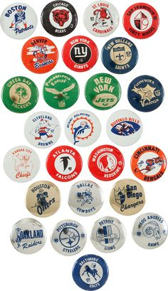 Set of Antique Lithograph Football Game Buttons