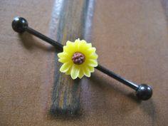 Sunflower Industrial Barbell Piercing Bar Gold Tone Titanium 14g 14 G Gauge Yellow Sun Flower Daisy