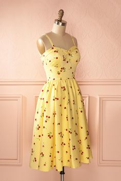 Aléonor - Yellow gingham cherry print midi dress