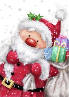 Santa Mixed Media - Santa With Sack by Makiko Christmas Rock, Christmas Snowman, Vintage Christmas, Christmas Holidays, Christmas Crafts, Christmas Decorations, Xmas, Christmas Scenes, Christmas Ornaments