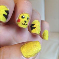 Pikachu Flocked Nail Art (my 1st try at flocking). http://www.caateryna.com