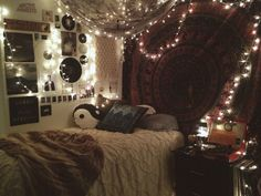 Fairy lights and wall decorations
