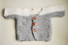 Hand Knitted Baby Jacket Cardigan / Alpaca Wool / Organic Wool / Gray and White