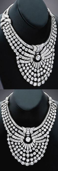 Magnificent and Historic Platinum and Diamond Necklace, Van Cleef & Arpels, France with French assay and maker's marks; 1939.