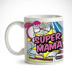 Mütter sind Superheldinnen. Unsere Comic Tasse für Mütter - Supermama - Comic Becher ist ein schönes Kompliment für die Heldin des Alltags - und ein toller Behälter für den morgendlichen Krafttrunk.