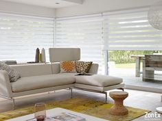 The light, white contemporary look of Twist complements the large window and light room style. roller blinds # home decor Persiana Double Vision, Cortina Roller, Persiana Sheer Elegance, Hospital Curtains, Modern Window Design, Zebra Blinds, Store Bateau, Window Styles, Roller Blinds