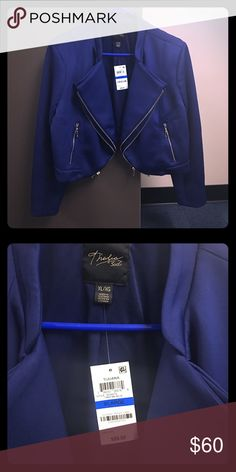 New Thalia Sodi jacket w/price tag still attached. Brand new/never worn blue Thalia Sodi jacket w/two rows of zippers. Perfect blazer to pair with jeans for an added touch of elegance. The vibrant blue really stands out and the picture doesn't do it justice. Offers Welcome:) Thalia Sodi Jackets & Coats Blazers