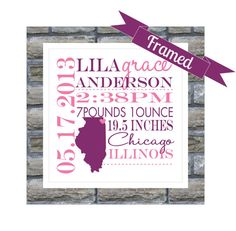 Personalized baby birth announcement signchilds birth information new baby gift personalized birth announcement framed state map keepsake print any location available worldwide nursery art welcome baby negle Images
