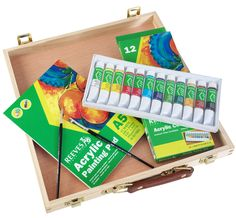 Reeves Acrylic Paint Set - 12 x Discount Art Supplies, Art Shed, Art And Craft Materials, Acrylic Paint Set, Learn To Paint, Wooden Boxes, Craft Supplies, Arts And Crafts, Canvas