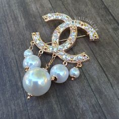 · Designer Inspired Chanel Brooch · Drop Pearls