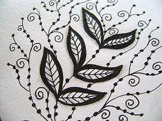 leafy tangle and bead lines by sewjenaissance, via Flickr