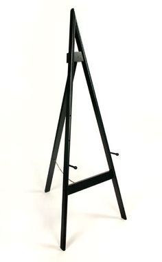 "A Frame Adjustable Wooden Easel.  Our A-Frame Adjustable Wooden Easel is an affordable solution for your art and signage display needs. The pegs have multiple settings to accommodate your 12"" X 15"" photo or up to a 48"" height display. The rear leg is hinged and folds flat for convenient storage in the closet."