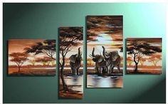 Three Elephants with trees  4 panel Canvas by LoveCustomArt
