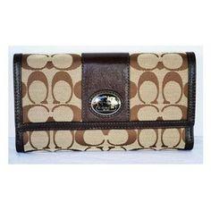 Coach Signature Sutton Checkbook Wallet Msrp $218
