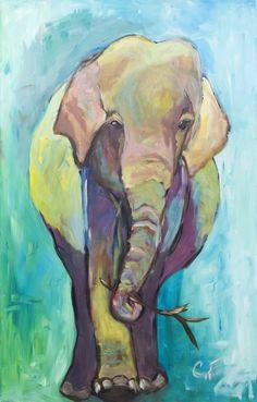 Asian Elephant Original Acrylic Artwork www.chellefazal.com