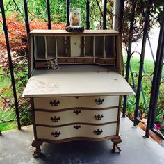 Beautiful Hand Painted Secretary / Desk with 4 dovetailed drawers.This piece was chalk  painted in light tan color and dark glazed for antique look. …