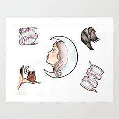 Too The Moon tattoo flash Art Print by Tasha Noel - $15.00