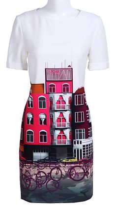 White Short Sleeve Buildings Bikes Print Silk Dress // what a designer wears #wearabledesign #bicycles